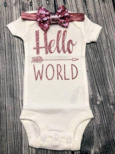 Hello World Bodysuit - Baby Bodysuit - Newborn Bodysuit - Hello World - Coming Home Outfit - Take home outfit - baby shower gift - baby announcement - gender reveal - baby girl bodysuit -