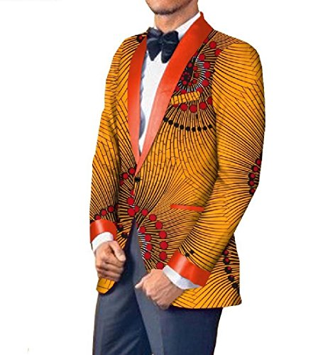 Comaba Men Casual Dashiki Small Blazer Africa Cotton Classic Suit Jacket 21 L by Comaba
