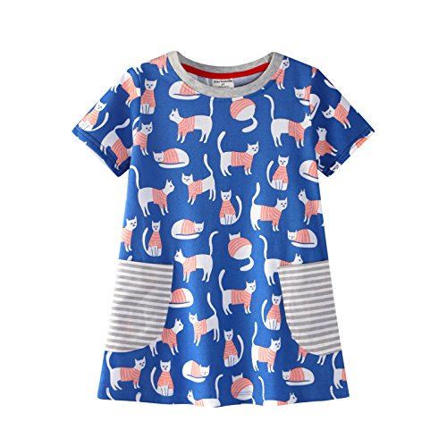 Gold treasure Kids Short Sleeve Sleepwear 100% Cotton Playwear Dress Little Girls Nightgown with Pink Cat 3T]()