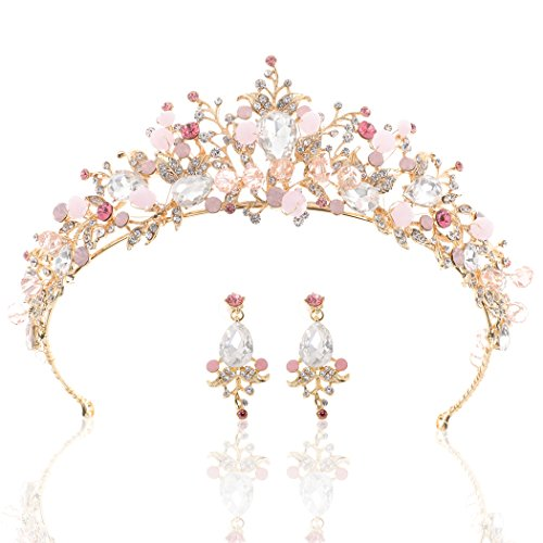 (Yean Gold Wedding Crown Bridal Tiaras with Earrings Pink Purple Headband for Women and Girls)