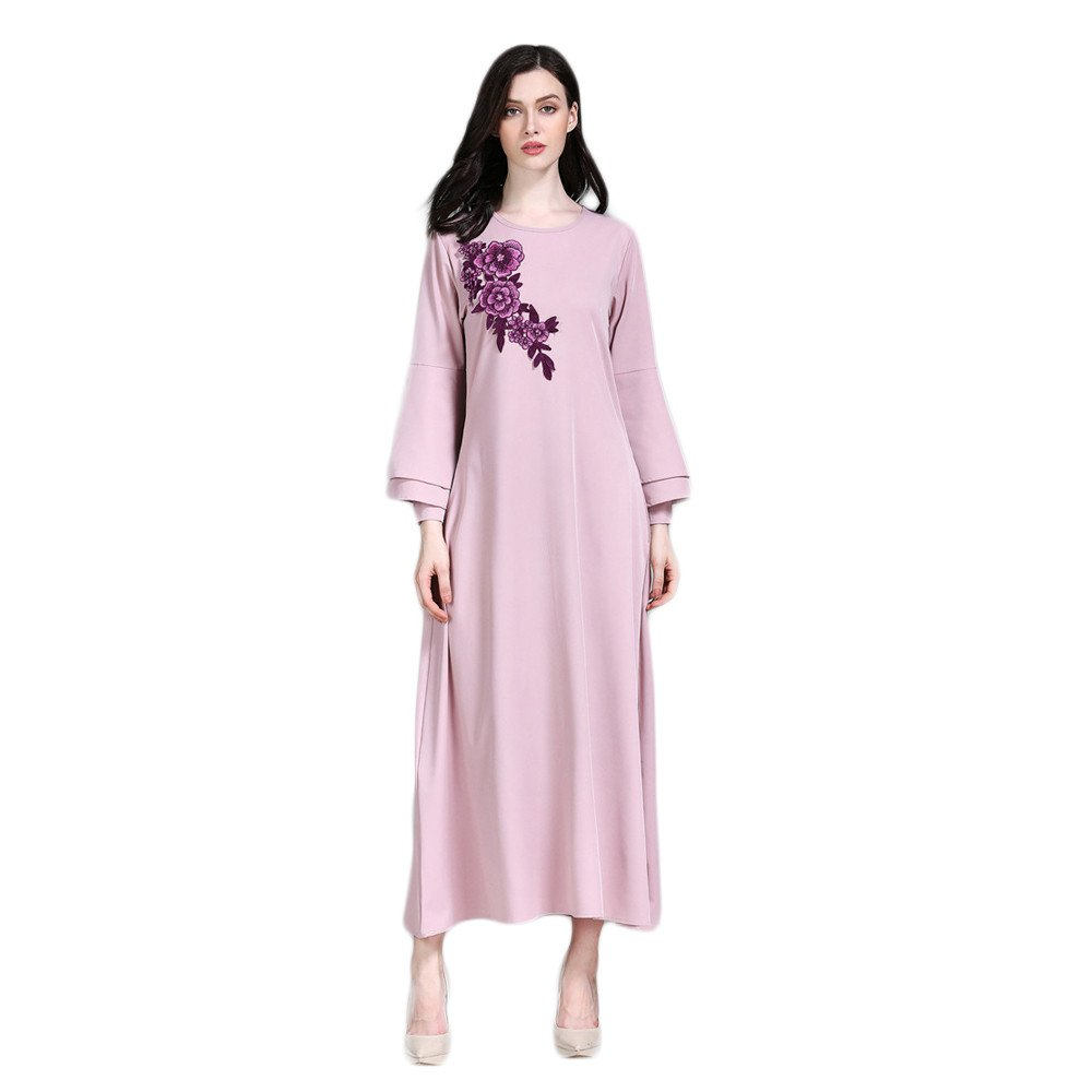 Women's Loose Ethnic Style Plain Color Maxi Dress Muslim Casual Loose Fit Trumpet Sleeve Floral Print Embroidered Elegant Dress (XL, Pink)