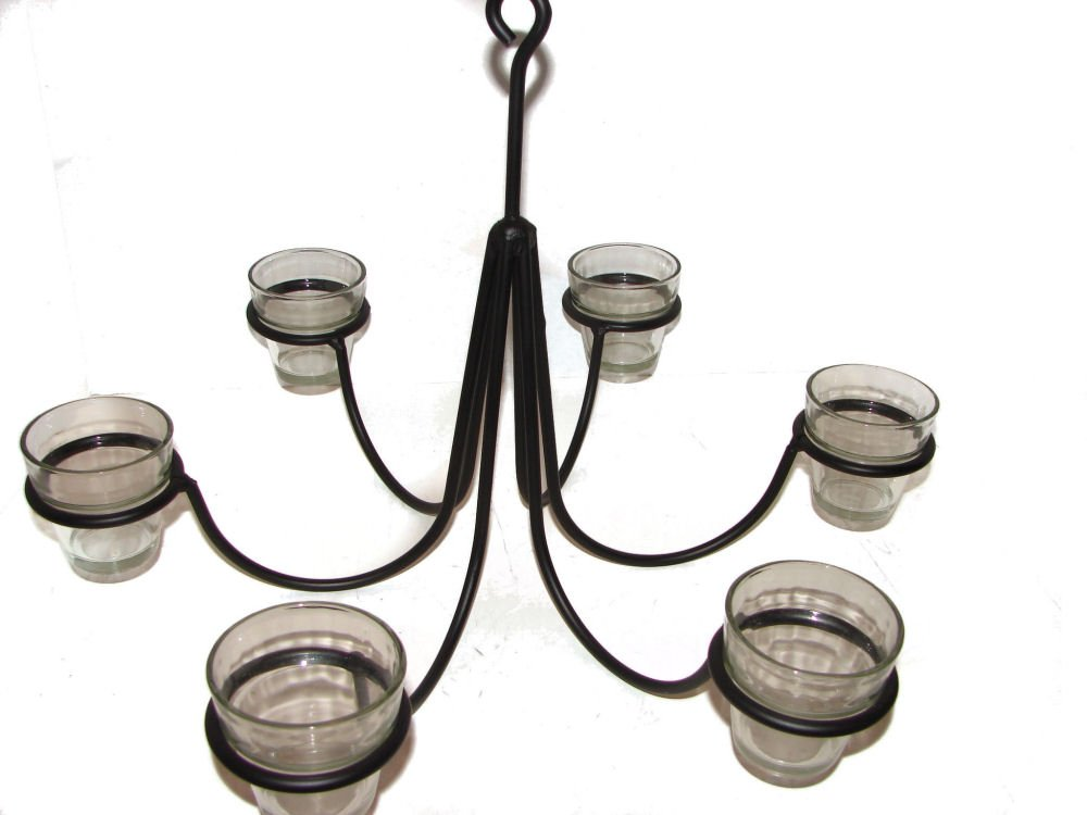 Wrought Iron 6 Arm Votive Candle Chandelier w/ Pots-Hand Made