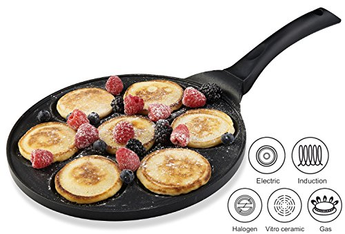 Gourmia GPA9515 Blini Pan With Induction Bottom Nonstick Silver Dollar Pancake Maker Features 7-Mold Design 27 cm [Diameter] x 1.35 cm [Height]