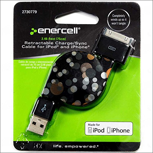 Enercell Golden Dot USB Retractable Sync/Charge 2.46 Feet Data Cable USB Charger For 30-Pin iPad 2 3 iPhone 3G 3GS 4 4S iPod Touch Classic Video Nano