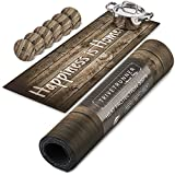 TRIVETRUNNER Wooden Rustic Set with Coasters (6 pcs) :Decorative Trivet and Kitchen Table Runners Handles Heat Up to 300F, Anti Slip,Waterproof, and Convenient for Hot Dishes and Pots (wood rustic)