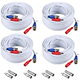 ANNKE (4) 30M/100ft All-in-One BNC Video Power Cables, BNC Extension Wire Cord for CCTV Camera DVR Security System (4-Pack, White)