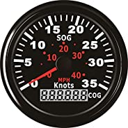 ELING Waterproof GPS Speedometer 0-35Knots Speed Gauge with Course for Marine with Backlight 3-3/8'' (