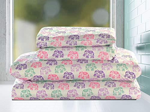 HowPlumb Twin 3 Piece Microfiber Sheet Set Elephants Boho Persian Bedding Pink Purple Teal by HowPlumb