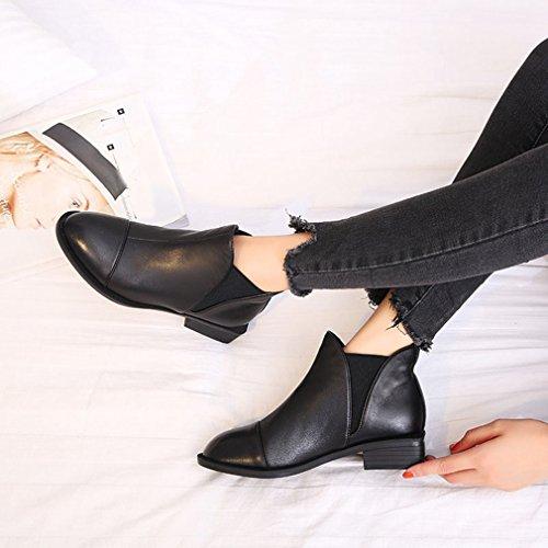 Btrada Donna Stivaletti Invernali Alla Caviglia Slip On Retro Tacco Tacco Basso Nero Martin Stivali Scarpe Nere