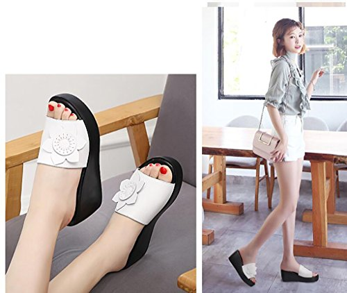 Slippers Woman Summer Fashion Outer Wear Slope Thick Heel Sandals Women's Shoes High Heels Sandals Flat Sandals,Fashion sandals (Color : B, Size : 34) B