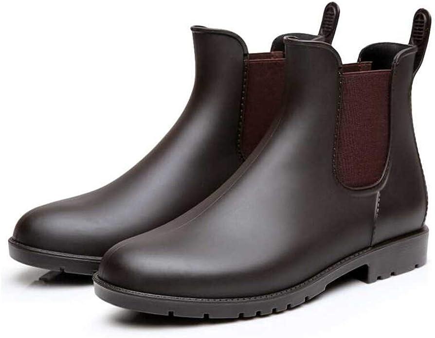 Mini Balabala Women's Anti-Slip Rain Shoes Unisex Elastic Waterproof Brown Slip On Ladies' Short Rain Boots Fashion Chelsea Booties Brown Size 10 10.5