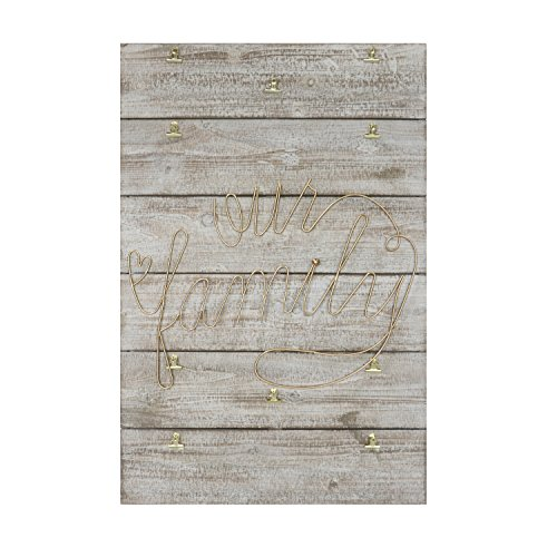 "Barnyard Designs Our Family Photo Display, Rustic Distressed Hanging Picture Frame with Clips 36'' x 23.5"" by Barnyard Designs"