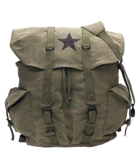 Rothco Canvas Backpack - Vintage Rucksack with Star Detail By by Rothco