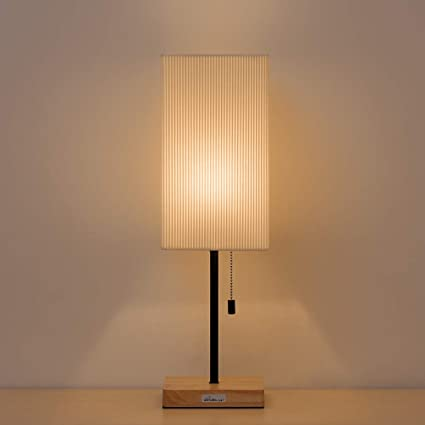 Lamp shades table lamps modern Rectangular Haitral Bedside Table Lamp Square Nightstand Lamp With Wooden Base Cream Lamp Shade Japanese Amazoncom Haitral Bedside Table Lamp Square Nightstand Lamp With Wooden Base