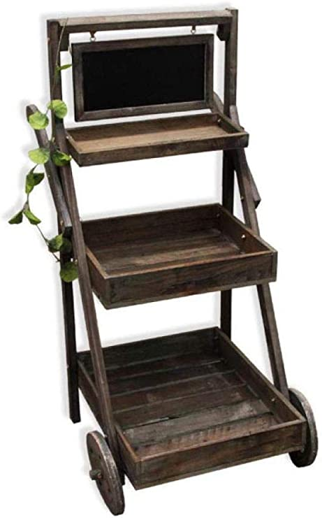 ANXWA Estantería Escalera con 3 Estantes I Estantería Plegable En Estilo Rústico I Estantería Decorativa De Madera,Black: Amazon.es: Hogar