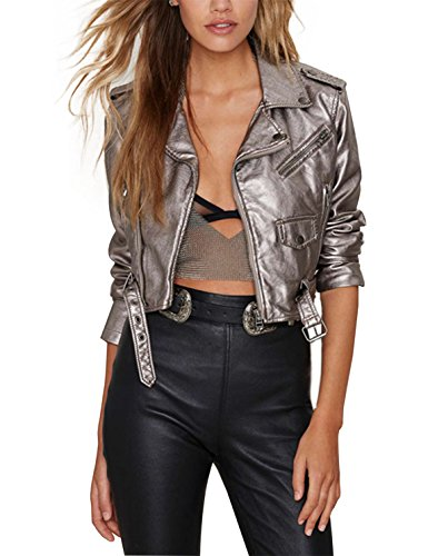 HAOYIHUI Women's Metallic Zipper Motorcycle Biker PU Leather Crop - Leather Jacket Metallic Motorcycle