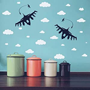 Kids Room Wall Sticker Two Aircrafts with Clouds Wall Decor for Boys Bedroom Wall Sticker Airplane Sky Decoration AM177 (Black Airplane/White Clouds)