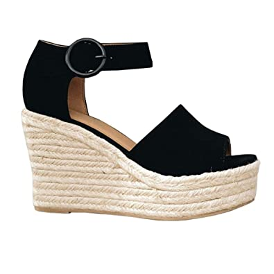 ae77287a6771 Syktkmx Womens Espadrille Platform Wedge Sandals Buckle Ankle Strap Mid  Heel Sandals Black