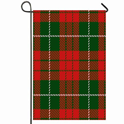 Ahawoso Outdoor Garden Flag 28x40 Inches Xmas Green Pattern Christmas New Year Scottish Woven Stripped Tartan Abstract Red Plaid Celebration Seasonal Home Decorative House Yard Sign