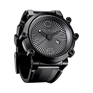 SISU Carburetor Q3 Quartz Men's Watch, Black Case, Corrugated Black Dial, Rubber Strap (Model: CQ3-50)