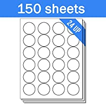 OfficeSmartLabels Round Circle Dot 1-2/3 inch Diameter Stickers Labels for Laser & Inkjet Printers, 1.67 Inch, 24 per sheet, White, 3600 Labels , 150 Sheets