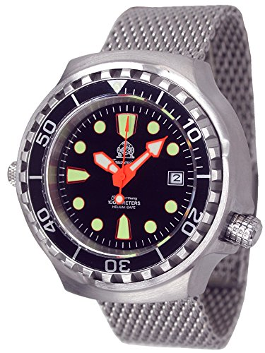Tauchmeister men`s diver watch with metall band - sapphire glass T0078MIL