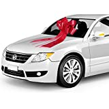 """Zoe Designs - 23"""" Big Car Bow with 2 Gold Accessory Bows (23"""" Red, 1 Pack), for Christmas Decoration, Big Xmas Gift, Giant Present, also Holiday, Surprise Party, Football Party"""