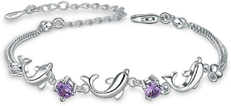 "7.5/"" Women Girl Silver Bracelet Dolphin Link Purple Amethyst Crystal Gift Box AC"