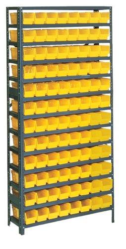 Edsal PB306 36-Inch Wide by 12-Inch Deep by 75-Inch High Thirteen-Shelf 96-Opening Plastic Bin Shelving Unit, Grey/Yellow