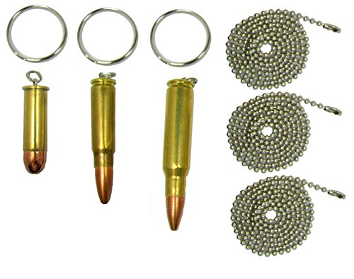 Set of Three Bullet Pendants, 308 Rifle, 7.62 Russian, 357 Magnum, with free Key Rings, Dogtag (Brass 357 Magnum)