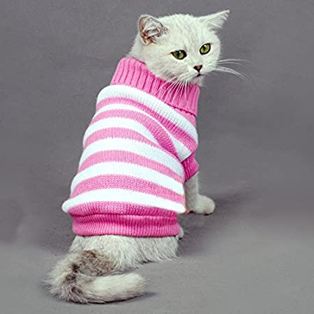 Evursua Striped Cat Sweaters Kitty Sweater for Cats Knitwear, Small Dogs Kitten Clothes Male and Female, High Stretch, Soft, Warm