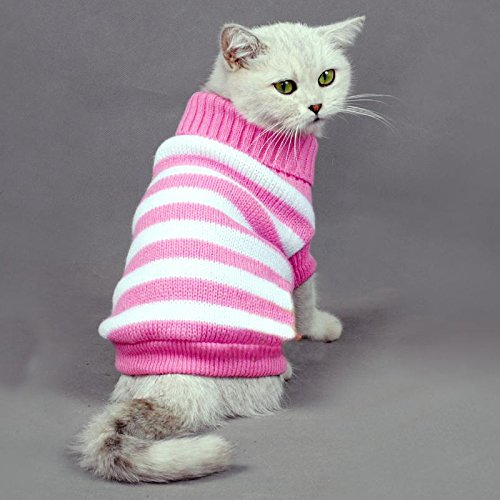 Striped Cats Sweater Aran Pullover Knitted Clothes for Small Dog Kitten Kitty Chihuahua Teddy (Pink, M)