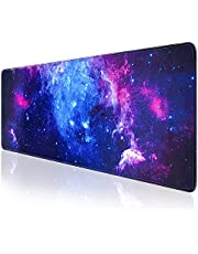 Gaming Mouse Pad, QOMOLAMA Large Mouse Pad XL 31. 5x11.8in, Big Extended Computer Keyboard Mouse Mat Desk Pad for Laptop with Stitched Edges, Waterproof Mousepad for Gamer Home&Office -Galaxy
