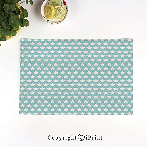 LIFEDZYLJH Machine Washable Placemats - Handcrafted with Classic Hemstitch & Mitered Corners,Geometrical Squares Crosswise Stripes Traditional Tartan Like Lattice Pattern,Light Blue White