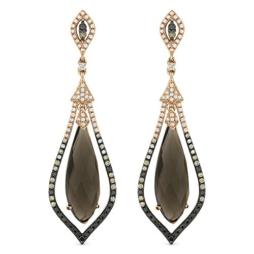 Smokey-Topaz Gemstone & Accented White Diamond Dangle-Earring Set In 14K Rose-Gold (Gold Smokey Quartz Dangle)