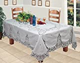 Battenburg Lace 68x120'' Rectangular Fabric Tablecloth WHITE Hand Embroidery