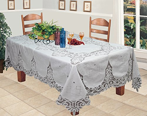 Battenburg Lace 68x120'' Rectangular Fabric Tablecloth WHITE Hand Embroidery by Creative Linens