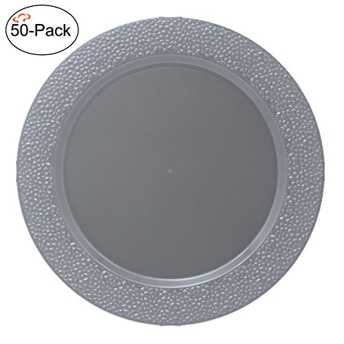 Tiger Chef 50-Pack 13 inch Round Silver Gray Chargers Plates Hammered Plastic Charger Plates Disposable Set of 2, 4, 6, 12 or 24 for Parties, Wedding, and Special Events