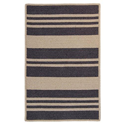 Colonial Mills Sunbrella Stripe Indoor/Outdoor Performance Reversible Rug USA MADE - 4' x 6' granite & papyrus Off-White (Stripe Sunbrella Rug)