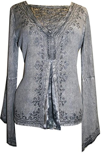 naissance Gypsy Blouse Top (Medium, Silver/Gray) (Hippie Tunic Blouse)