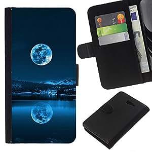 """JackGot ( Azul de la Luna Llena"""" ) Sony Xperia M2 la tarjeta de Crédito Slots PU Funda de cuero Monedero caso cubierta de piel"""