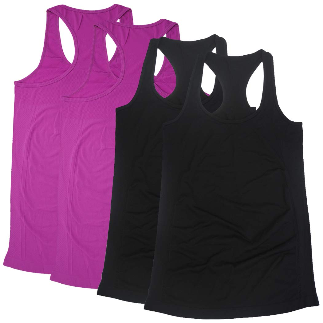 Funny Workout Tanks For Women, BollyQueena Women's Nylon Tank Tops For Women 4 Packs Multicoloured S