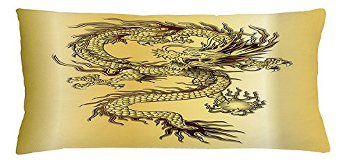 Gold Chinese White Snake (Dragon Throw Pillow Cushion Cover, Chinese Snake Dragon Theme Print Golden Background Eastern Mythology Oriental Abstract Art, Decorative Square Accent Pillow Case, 30 X 20 Inches, Gold)
