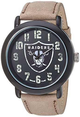 Game Time Men's 'Throwback' Quartz Metal and Leather Casual Watch, Color:Beige (Model: NFL-TBK-OAK)