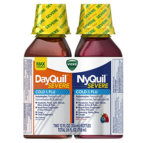 - Vicks NyQuil and DayQuil SEVERE Cough, Cold & Flu Relief Liquid, 2x12 Fl Oz Combo, Relieves Sore Throat, Fever, and Congestion, Day or Night