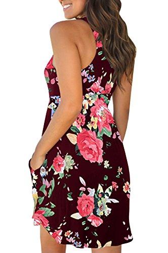 Dress JeanewPole1 Red Summer Waisted Print Womens Wine Floral Tank Pockets Dress Boho Mini High with qv6R4wqx