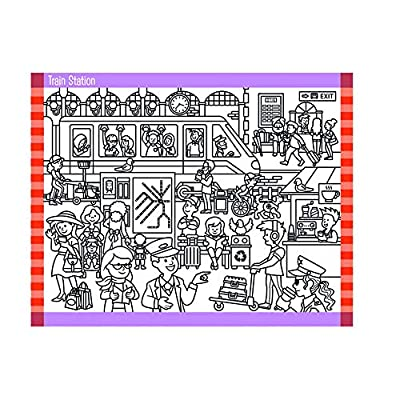 Melissa & Doug Seek and Find Sticker Pad – Around Town (400+ Stickers, 14 Scenes to Color): Toys & Games