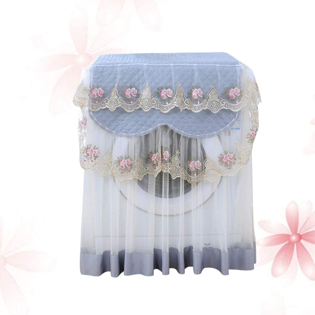 Green, Average Size VOSAREA Washing Machine Cover Lace Ruffle Floral Waterproof Fully Automatic Washing Machine Cover Dust Cover