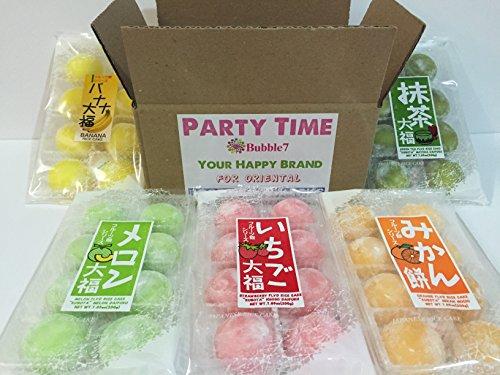 Japanese Mochi Fruits Daifuku (Rice Cake) CHOICE OF: Strawberry, Melon, Green Tea, Orange and Banana Flavors (5 Flavors Mix) (Mini Green Tea Mochi)