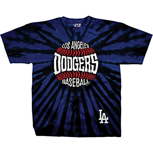 Liquid Blue Unisex Adult MLB Burst Tie-Dye T-Shirt - Short Sleeve - Los Angeles Dodgers - XXL